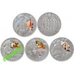 Монета БЕЛАРУСЬ 2009.12.30   Мушкетеры комплект 4 шт. в футляре анц.   20 рублей   Ag 925  